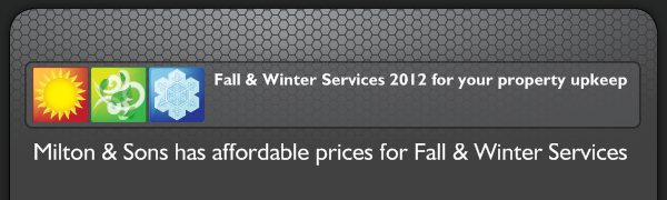 Fall & Winter Services 2012 for your property upkeep - Milton & Sons has affordable prices for Fall & Winter Services